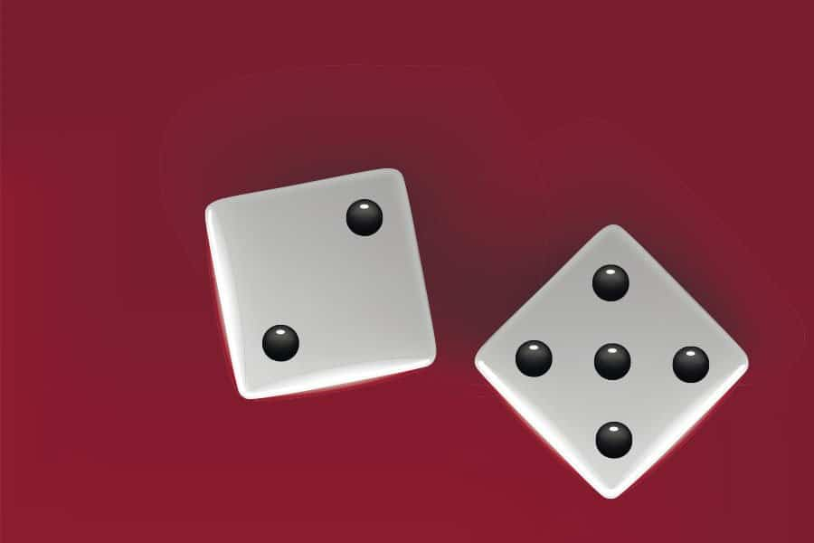 Two dice symbolozing your chances of surviving cancer