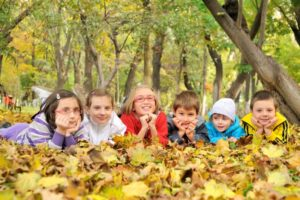 healthy kids playing in the woods