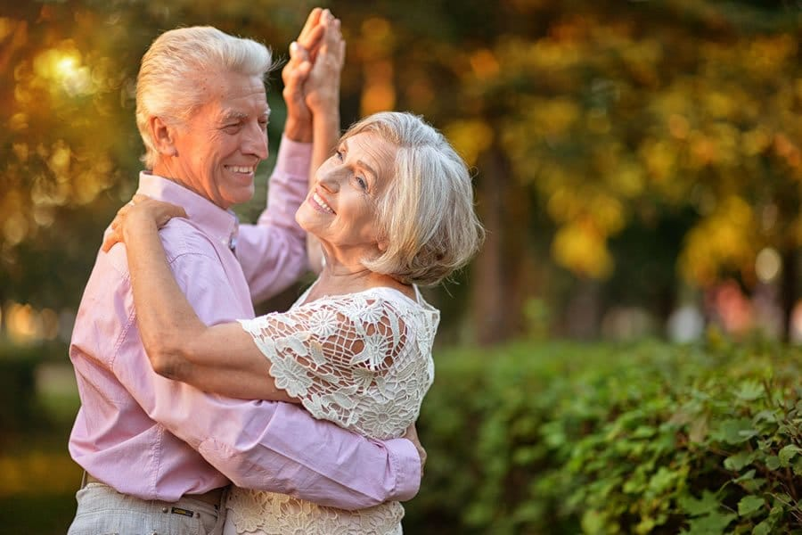 Two seniors dancing. Prolozone therapy success story