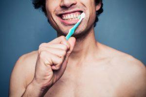 Man brushing his Healthy Teeth