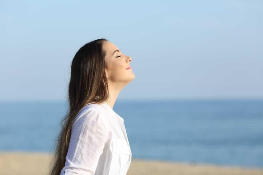 A woman breathing easy